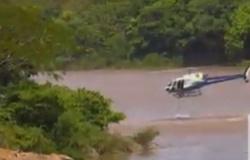 PM pula de helicóptero e salva mulher que se jogou no Rio Cuiabá; assista vídeo