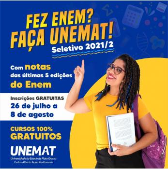 Unemat divulga edital do Seletivo com 2.570 vagas para 62 cursos em 12 cidades