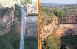 Cartão postal de Chapada dos Guimarães, cachoeira Véu de Noiva está seca