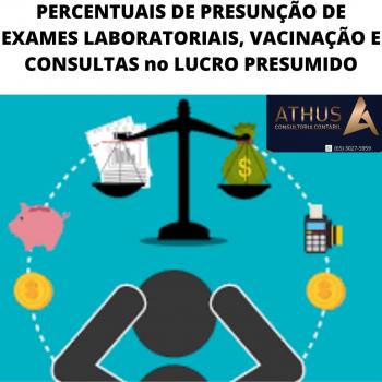 PERCENTUAIS DE PRESUNÇÃO DE EXAMES LABORATORIAIS, VACINAÇÃO E CONSULTAS no LUCRO PRESUMIDO